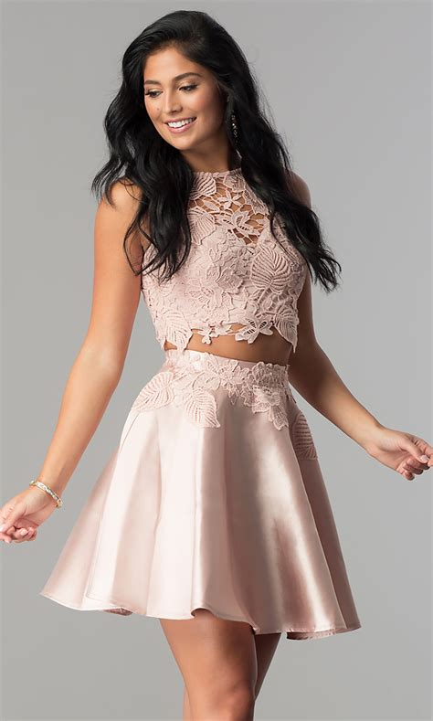 Two-Piece Semi-Formal Lace Junior Homecoming Dress