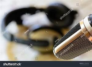 Vintage Microphone Headphones Background Stock Photo ...