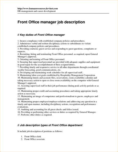 front desk receptionist description 12 front desk manager description invoice template
