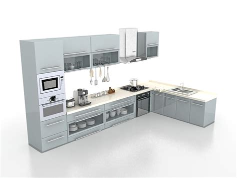 Gray Kitchen Cabinets Design 3d Model 3ds Max Files Free
