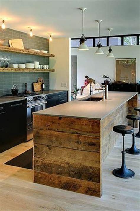 porte coulissante cuisine la cuisine avec îlot central idées de décoration et design