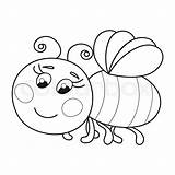 Bee Coloring Cartoon Cute Funny Flying Vector Ruddy Drawing Children Illustration Bumblebee Worker Colourbox Dreamstime sketch template