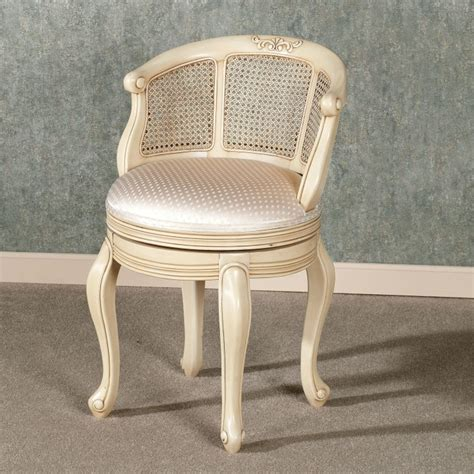 white gray fabric vanity chair with zigzag pattern