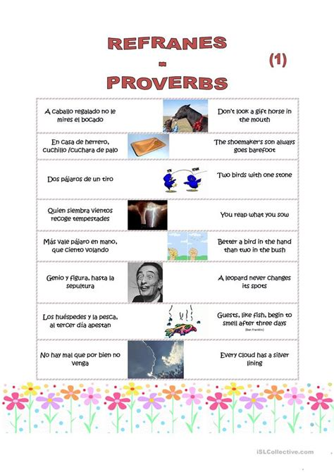 8 proverbs 1 and 2 spanish english worksheet free esl printable worksheets made by teachers