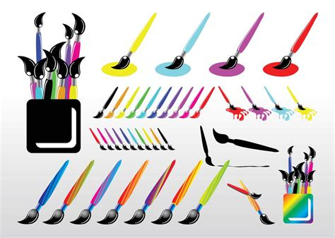 paint brush set vector graphics freevector