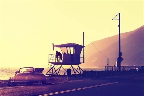 vintage filtered sunset  beach  lifeguard tower