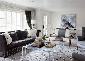 Dark Gray Velvet Sofa - Contemporary - living room