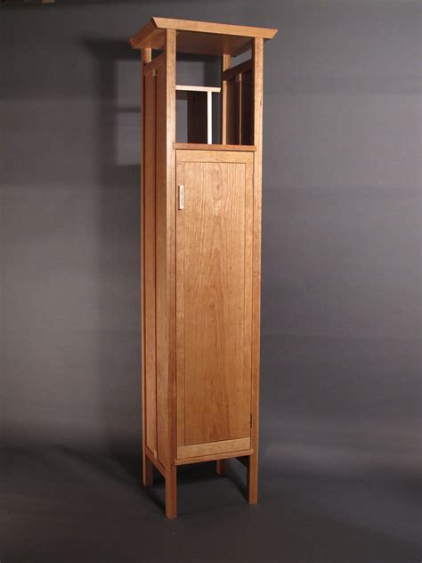 Short Linen Cabinet by Tall Narrow Armoire Cabinet In Cherry Handmade Custom Wood