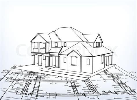 Haus Vektor Technische Zeichnen  Vektorgrafik Colourbox