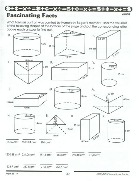 Volume And Surface Area Of Prisms Worksheet Worksheets For All  Download And Share Worksheets