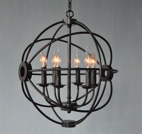 rustic orb chandelier vintage rustic black iron hanging light orb