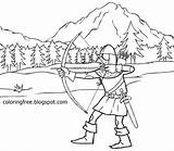 Hood Arrow Medieval Coloring Pages Robin Dark Bow Hunting Drawing Printable Ages Warrior Vikings Teenagers Woodland Dear Head Weapon War sketch template