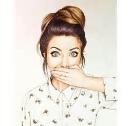 Girl with Messy Bun Drawing