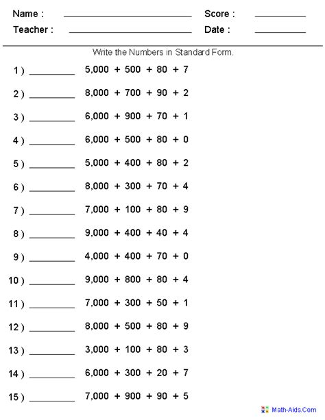standard form place value worksheets generate as many