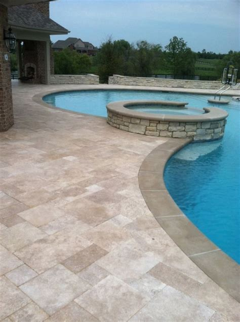 Grey Travertine Pool Deck