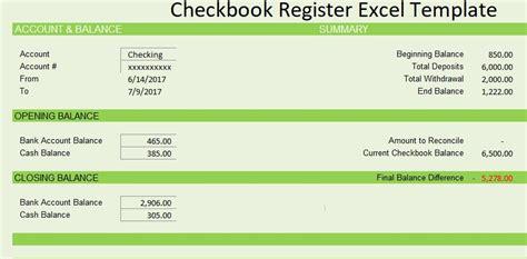 Checkbook Register Template Free