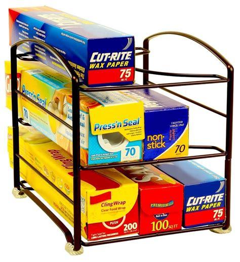 Wrap Organizer Rack Foil Box Storage Holder Shelf Pantry
