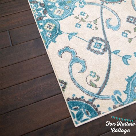 turquoise and gray area rug coastal cottage summer living room fox hollow cottage