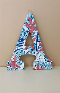 hand painted lilly pulitzer she sells sea shells inspired With little wooden letters