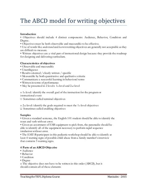 the abcd model for writing objectives
