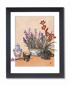 Japanese Flowers Asian Contemporary Wall Picture Black ...