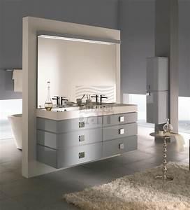 Meuble Double Vasque Suspendu : meubles de salle de bains suspendus double vasque avec plan en beton de synthese decotec ~ Melissatoandfro.com Idées de Décoration