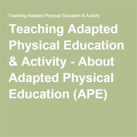 1000+ Ideas About Adapted Physical Education On Pinterest