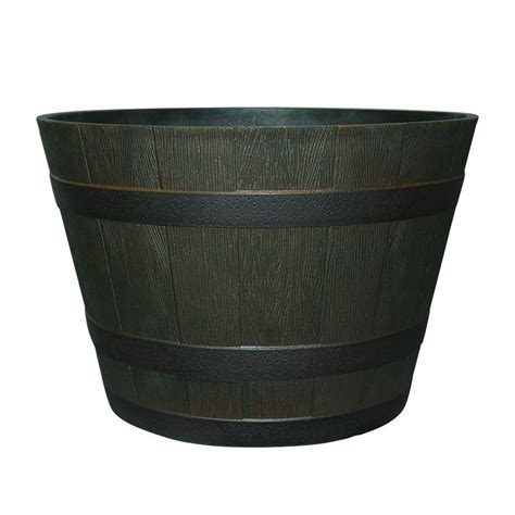 home depot whiskey barrel planters 22 1 2 in dia rustic oak resin whiskey barrel planter hdr
