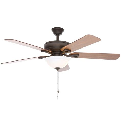 52 ceiling fan with light hton bay rothley 52 in indoor oil rubbed bronze