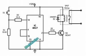On Off Toggle Switch Circuit Diagram Using Ic 4017