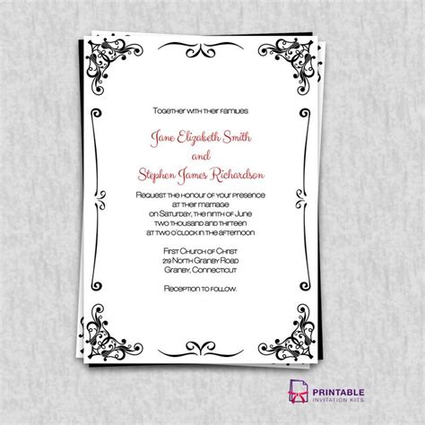 FREEInvitations Retro Border Wedding Invitation