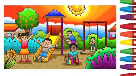menggabar taman 30 gambar mewarnai rumah dan taman