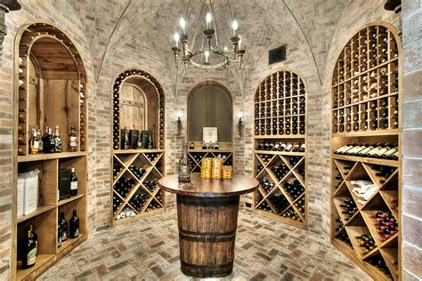 brick barrel ceiling wine cellar traditional with groin vault brick walls