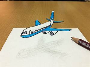 How to draw 3D Aeroplane Flying - Anamorphic Illusion Art ...