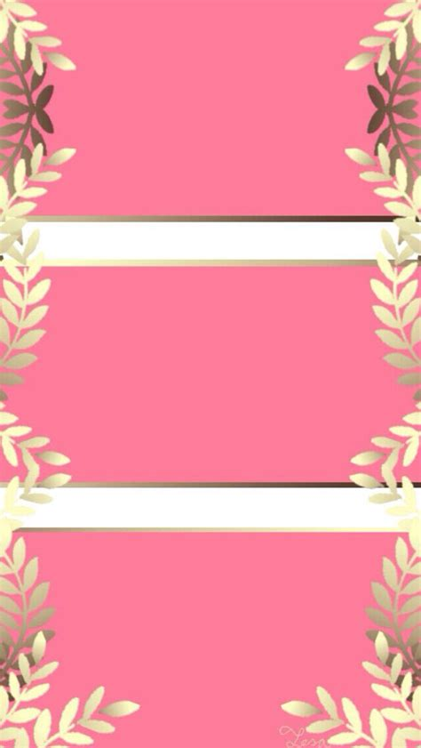 Screen Lock Screen Gold Pink Wallpaper Iphone by Pink Gold White Leaves Vines Frame Stripes Iphone Phone