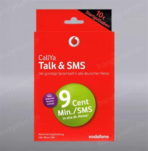 vodafone talk sms  guthaben callya prepaid handy sim