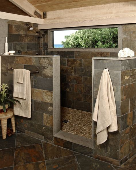 rustic stone shower modern bathroom  metro