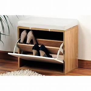 banc a chaussures avec coussin rangement pour chaussures With good meuble chaussure avec banc 9 meuble chaussure couleur chene