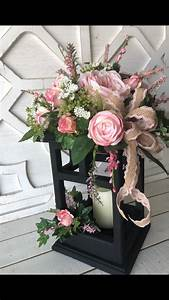Black, Wood, Lantern, With, Pink, Roses, Spring, And, Summer