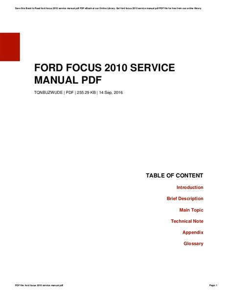 ford focus  service manual