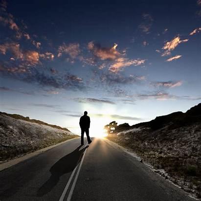 Walking Away Road Along Lonely Boy Dawn