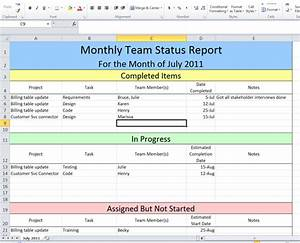 Project Status Report Template Excel On Behance