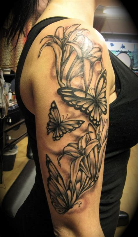 Flower And Butterfly Half Sleeve Tattoos