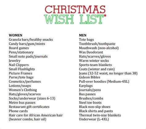 christmas list samples sample templates