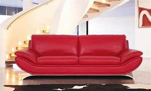 Canape Design Pas Cher : canape cuir rouge ~ Melissatoandfro.com Idées de Décoration