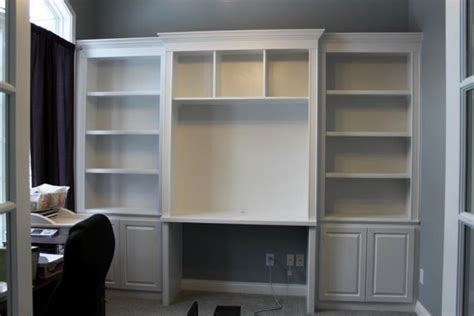 bookcase with desk built in built in bookshelves and desk using ikea hemnes with crown