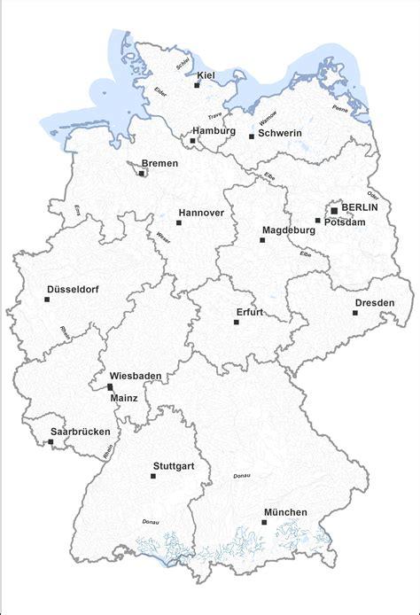 deutschland fluesse und   deutschlandkarte mit