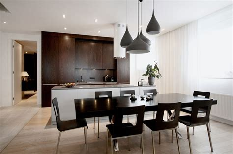 Fresh White Based Dining Spaces by Warm Sophisticated Apartment In Warsaw Poland