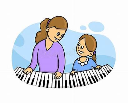 Piano Teacher Lesson Illustration Learning Vector Isolated