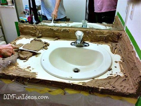 concrete bathroom sink diy super easy concrete overlay vanity makeover hometalk